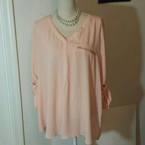Roz & Ali peach colored blouse size 2X